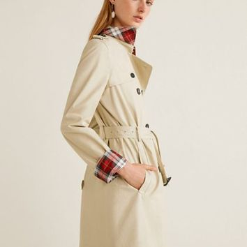 Mango Brown and cream 'Polana' double breasted trench coat