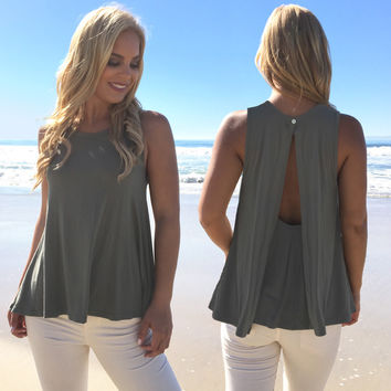 Lolita Drape Jersey Top In Olive