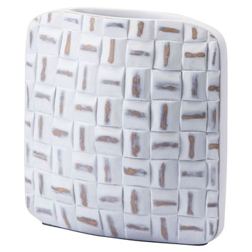 Mosaic Square Vase Small Antique White