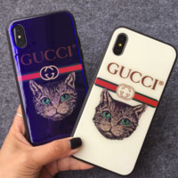 Gucci cat iphonex mobile phone shell blue light glass apple 7/8plus anti falling protective sleeve ancient pool cat