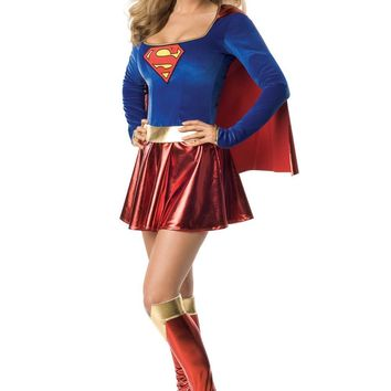 Supergirl Costume Halloween Superwoman Cosplay Fancy Dress With Cape and Boot tops