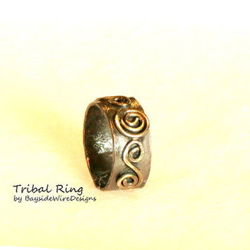 Antiqued Recycled Unisex Thumb Ring Adjustable Tribal Wide Band Handmade Hippie