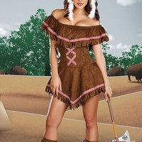 Tippin Teepees Costume, Fringe Indian Costume, Adult Native American Costume