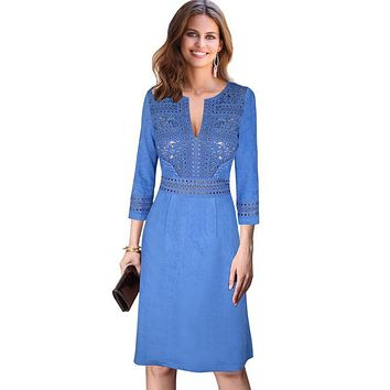 Vfemage Womens Autumn Winter Sexy V Neck Keyhole Crochet Lace Faux Suede Patchwork Cocktail Party Flare Skater A line Dress 7616