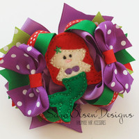 Mermaid Hairbow, Purple Red Green White, Layered Hairbow, OTT Hairbow, 4 Inch, Twisted Bow, Toddler Hairbow, Hair Clips, Girls Hairbow,