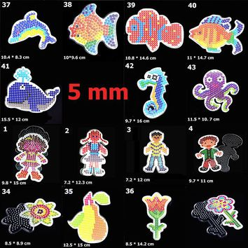 5mm DIY Perler Beads Pegboard Toy Cartoon Animals Flowers Shape Puzzle Template Plastic Stencil Educational Kids Toys Brinquedos