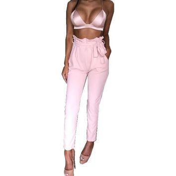 Sexy Women Pink White Stretch Casual Skinny Pants High Waist Pencil  Trousers