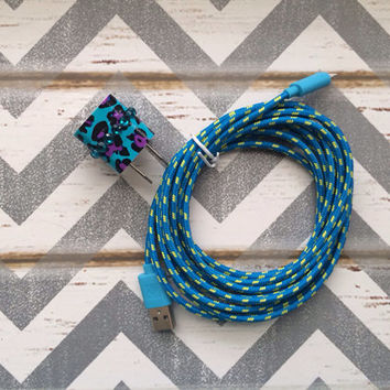 New Super Cute Jeweled Purple/Turquoise Blue Cheetah Print Designed USB Wall Connector + 10ft Turquoise Braided iPhone 5/5s/5c Cable Cord
