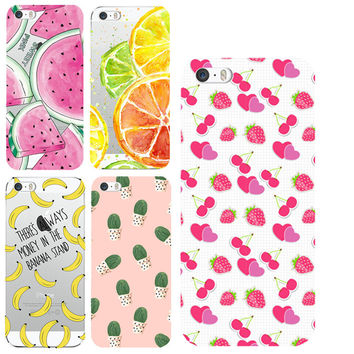 Case For Apple iPhone 4 4S 5 5S SE 5C 6 6s 7 Plus Soft Silicon TPU Transparent Fruit Pineapple Lemon Banana Thin Phone Cases