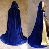 Artemisia Designs Medieval Renaissance Cloak Lined Blue Velvet Gold Satin