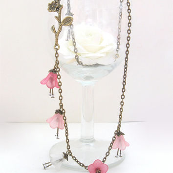 Sakura - bronze necklace, pink flowers and brass branch