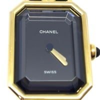 Chanel Metal/ Leather Premiere M Watch Gold/ Black 4641