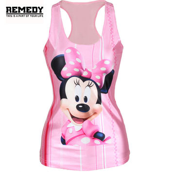 20Styles Women Minnie Mouse Cartoon Printed Sleeveless T Shirt Vest TankTops Fashion Woman Skull Print Vest Tops Women Rock Vest