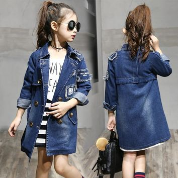 Trendy 2018 Girls denim Jackets Fashion Double-Breasted Denim Coats New Kids Trench Coat For Girl Long Jackets Autumn Children Clothing AT_94_13