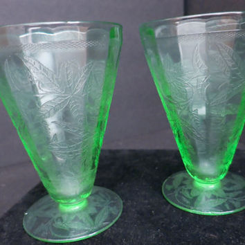 2 Green Depression Cone/Parfait Glasses, Footed Tumblers-Set of 2- Epsteam