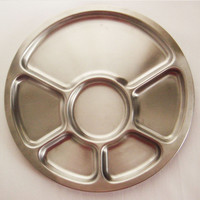 Alessi stainless steel divided serving plate - 1970s' design - unused - 2 aviable