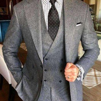 VONE05F8 latest coat pant designs grey tweed suit men formal brand slim fit business marriage style blazer prom 3 piece tailor terno