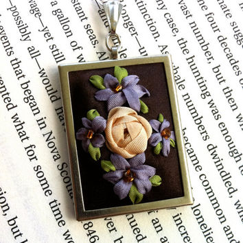 Lavender and Brown Embroidered Flower Pendant, Beaded - Silk Ribbon Embroidery By BeanTown Embroidery