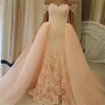 New Arrival vestido de noiva casamento Sweetheart Cap Sleeve Bridal Wedding Dress Beaded Lace Wedding Gown With Detachable Train