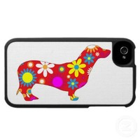 Funky retro floral dachshund dog iphone 4 case from Zazzle.com