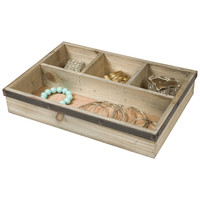 Four Section Wooden Jewelry Tray Drawer Organizer