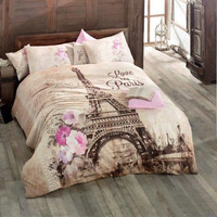 100% Cotton Paris Eiffel Tower Print Bedding Queen Twin Duvet Cover pillow case