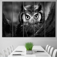 Owl print, Wall decor, Canvas art, Extra Large Wall Art, Gallery wrapped, Multi panel art, Streched canvas, Split canvas, Owl canvas, Canvas