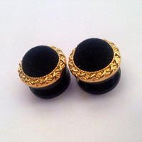 "16mm (5/8"") Gold Velvet Ear Plugs"