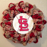 Stl burlap wreath with red natural and red polka dot burlap