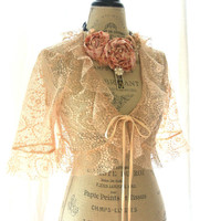 Lace shrug, shabby pink, womans clothing, cottage chic, country farmhouse style, farm girl. french market