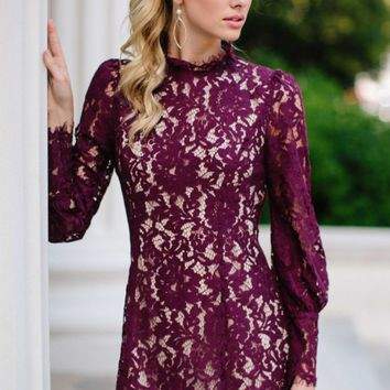 Lace Make It Fancy Purple Lace Dress