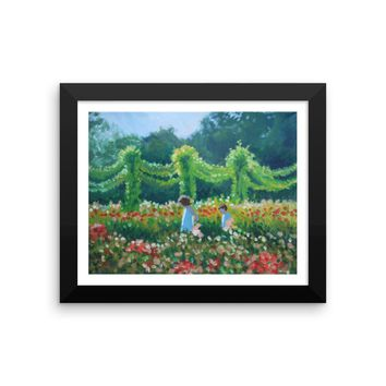 Children in the Garden at Twilight Framed Fine Art print by American Artist Hilary J. England