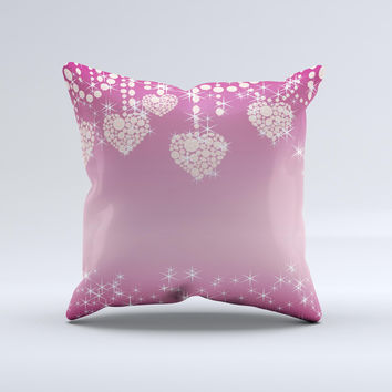 Pink Sparkly Chandelier Hearts ink-Fuzed Decorative Throw Pillow