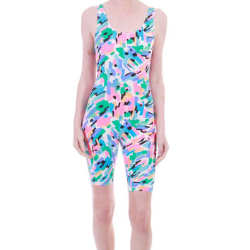 80s Vintage Neon Bodycon Bodysuit Abstract Print Catsuit Romper Short Club Kid Festival 90s Clothing Womens Size XS Small