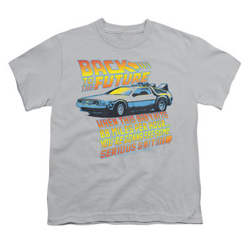 Back To The Future Men's  88 Mph Youth T-shirt Silver Rockabilia