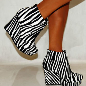 LADIES ZEBRA  ANIMAL PRINT SUEDE WEDGES ANKLE BOOTS HIGH HEELS SHOES PLATFORMS