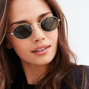 Womens 90s Grunge Small Round Oval Vintage Metal Frame Retro Circle Sunglasses