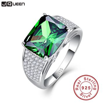 JQUEEN 9.5ct Emerald Cut 925 Solid Sterling Silver Ring High Quality Nano Russian Emerald Rings Women Fashion Classic Set