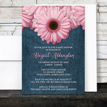 Pink Daisy Baby Shower Invitations Girl - Country Rustic Floral and Blue Denim - Printed Invitations