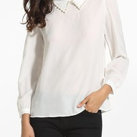 Beading Polo Collar Chiffon Plain Blouse
