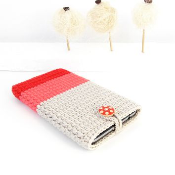 Red coral beige ombre cotton phone case