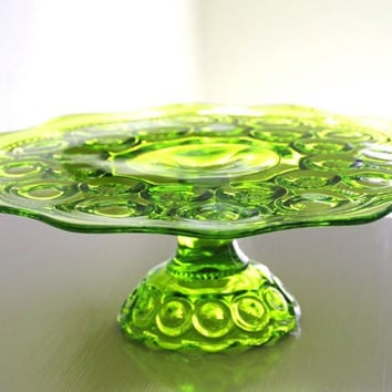 Vintage Glass Cake Stand Green L. E. Smith Moon & Stars Pedestal Cake Plate Dining Serving Entertaining Wedding