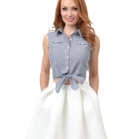 Collectif 1950s Style Navy & White Gingham Button Up Tie Camille Blouse