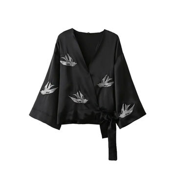 Women Swallow bird embroidery V neck kimono black loose shirts bow tie oversized three quarter sleeve blouse tops blusas LT1410