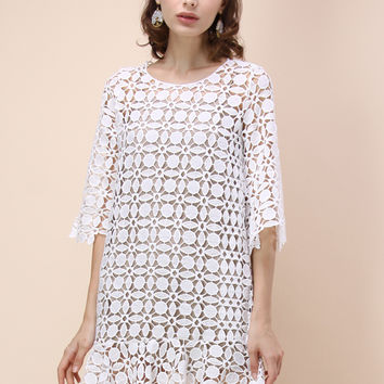 Infinite Allure Crochet Dress in White