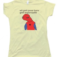 Womens SPOODERMAN - WITH GREAT POWER COMES GREAT RESPONSIBILITY - High Quality Fashion Tee Shirt