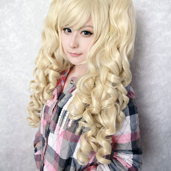 Cosplay anime synthetic blonde lolita wig ponytails,Colorful Candy Colored synthetic Hair Extension Hair piece 1pcs WIG-218A