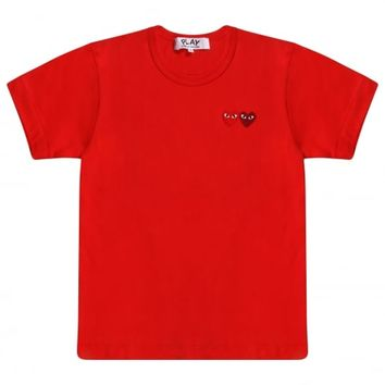 COMME DES GARCONS PLAYPLAY Women's Twin Heart T-Shirt Red