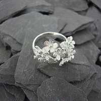 Silver Hathaway Flower Wrap-A-Round Ring