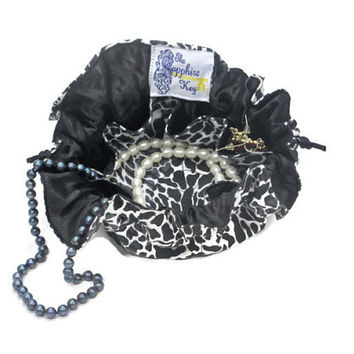 Drawstring Travel Jewelry Pouch / Satchel - Black Cheetah with Black Satin